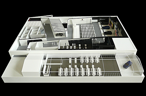 architekturmodell porsche messestand bei der l a auto. Black Bedroom Furniture Sets. Home Design Ideas