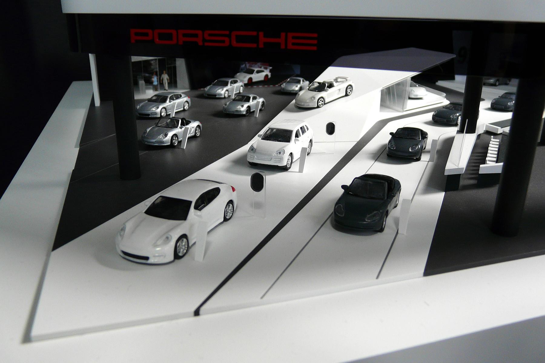 architekturmodell porsche messestand bei der internationalen automobil ausstellung 2015 b la. Black Bedroom Furniture Sets. Home Design Ideas