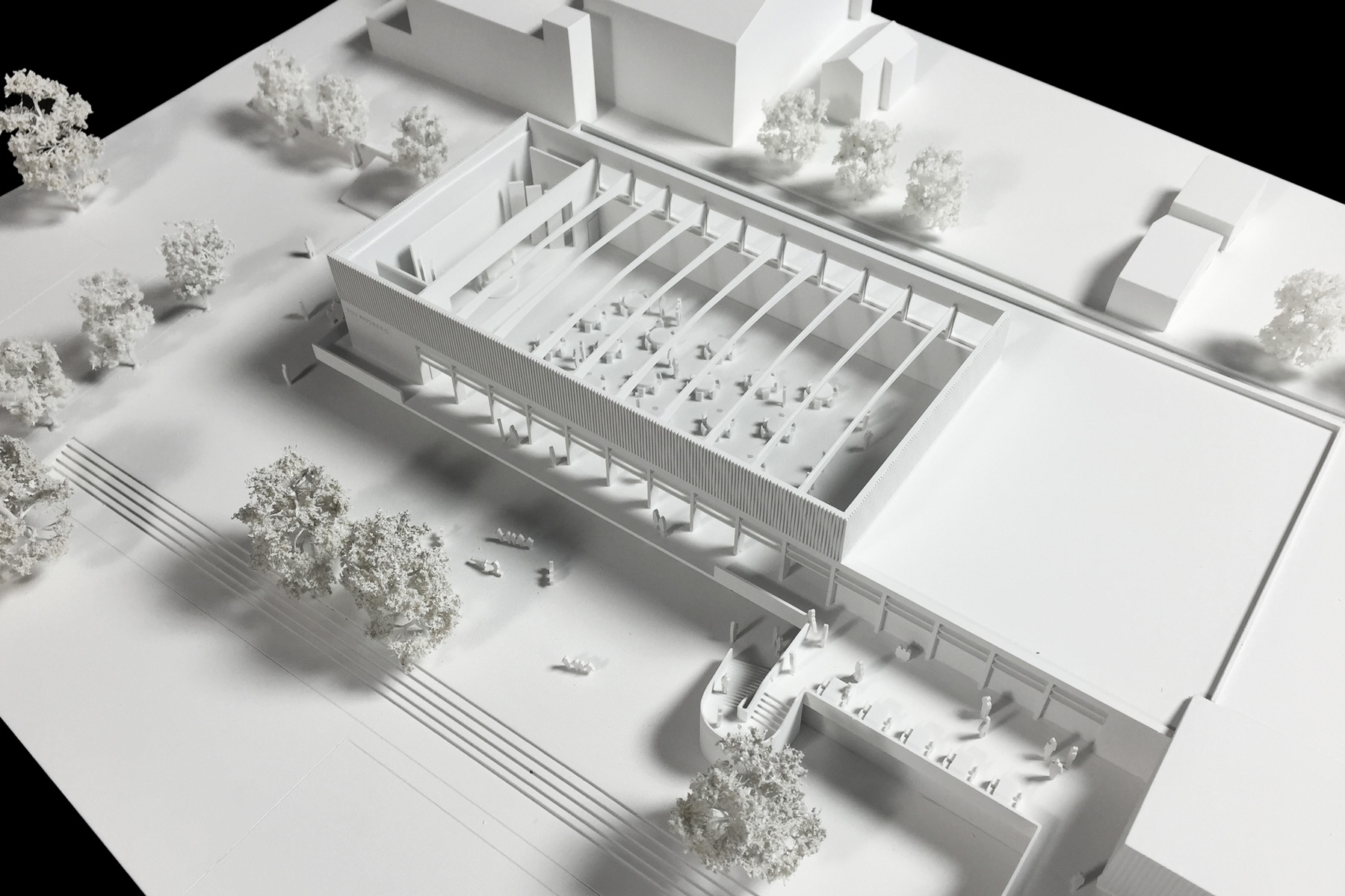architekturmodell festhalle musberg b la berec modellbau. Black Bedroom Furniture Sets. Home Design Ideas